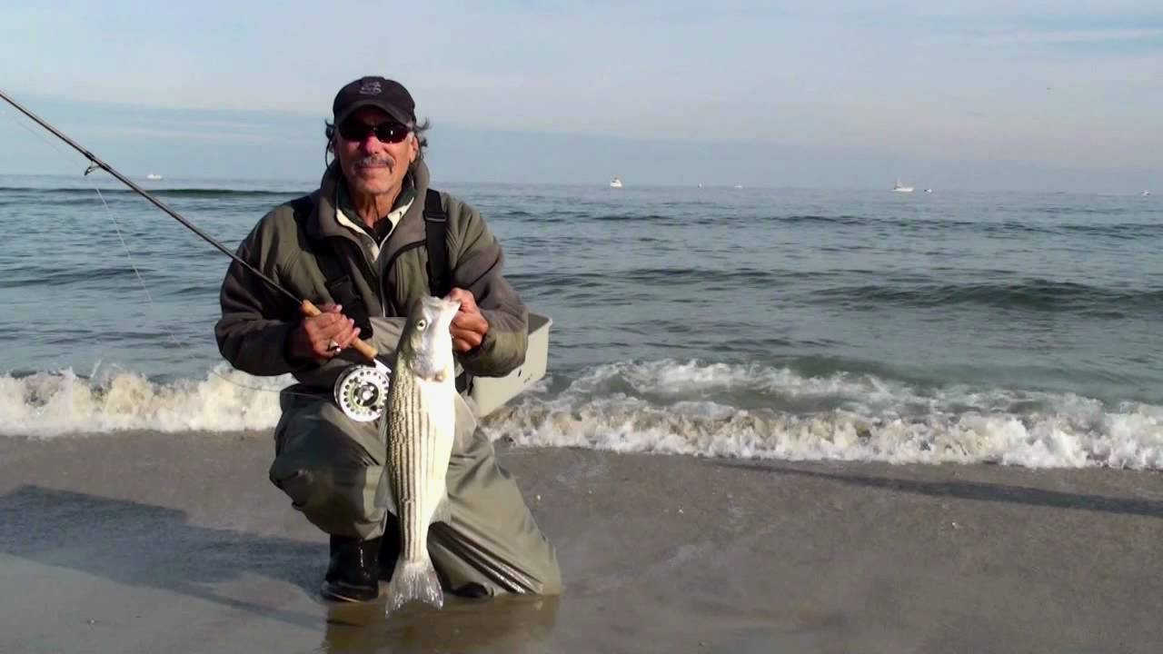 Fly fishing nj for striped bass in the nj surf youtube for Trout fishing nj