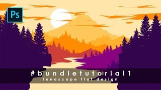 Cara Desain Landscape Flat Design 1 #BundleTutorial1 - Photoshop Tutorial Indonesia