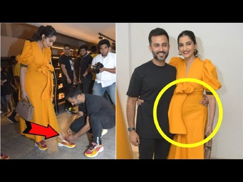 Sonam Kapoor Flaunts PREGNANT Baby Bump With Anand Ahuja At Fila Store Launch