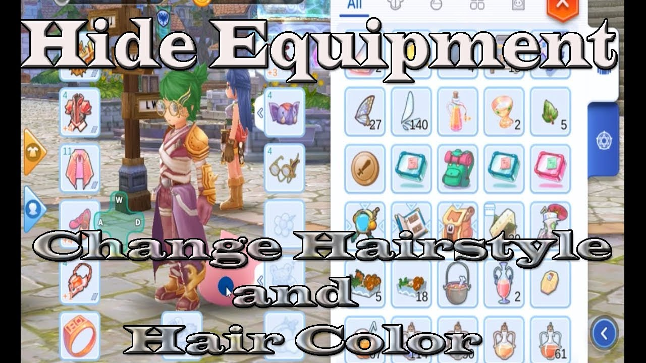 ragnarok eternal love mobile hiding equipment change hairstyle and color