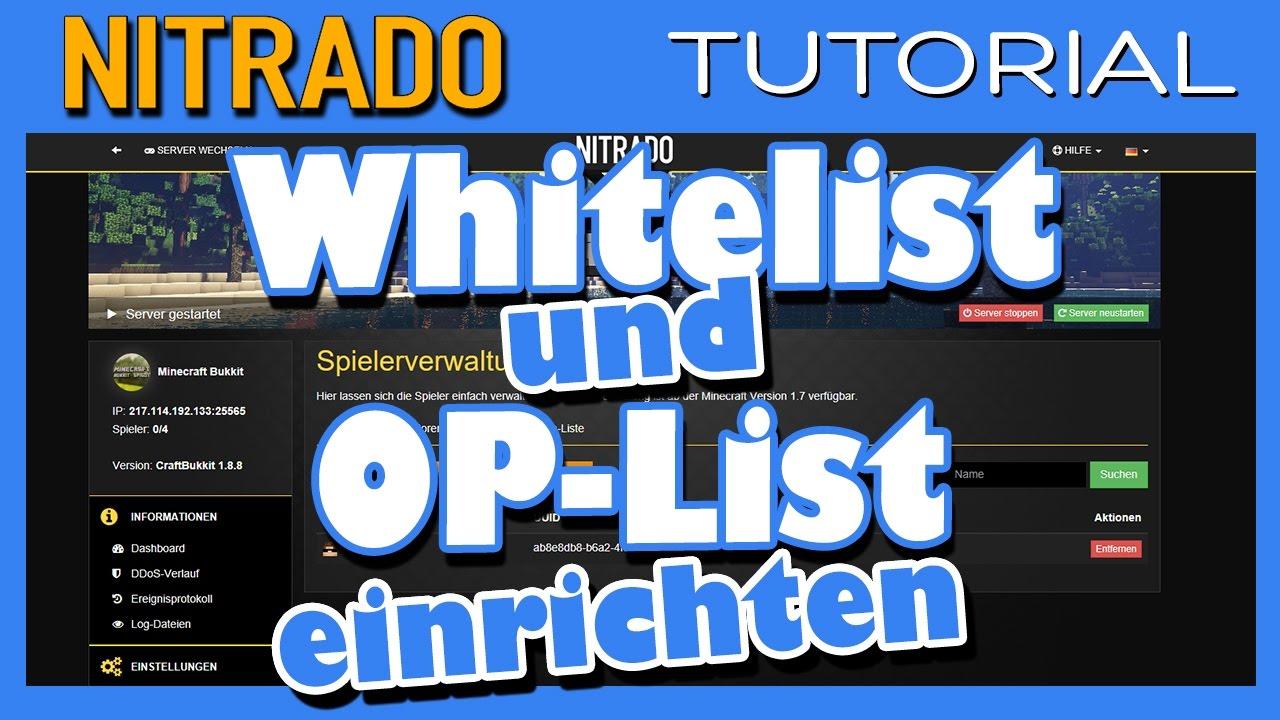 Whitelist Und OP Liste Auf Nitrado Minecraft Servern Einrichten - Nitrado minecraft server whitelist erstellen