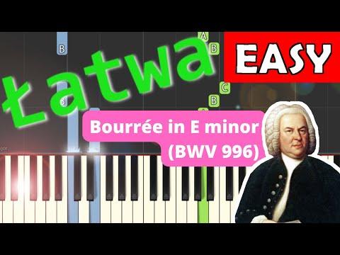 🎹 Bouree E-moll (BWV 996, J. S. Bach) - Piano Tutorial (średnia wersja) (MEDIUM) 🎹