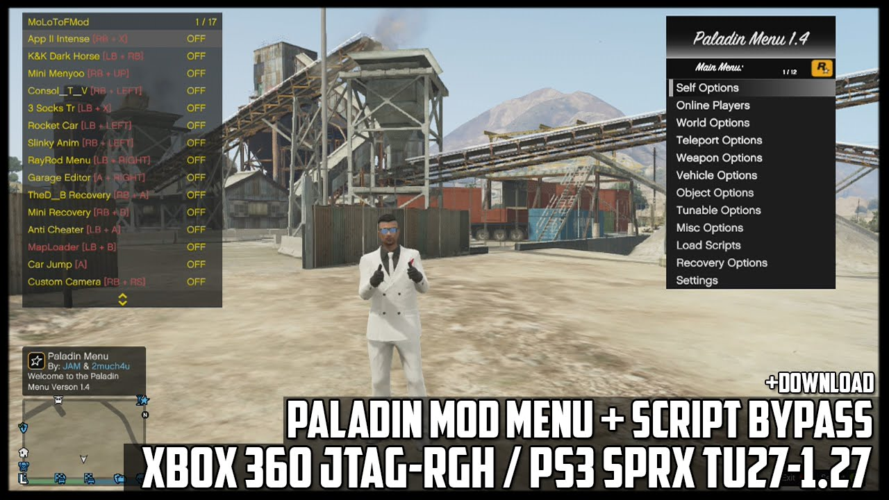 GTA 5 ONLINE - PALADIN MOD MENU + SCRIPT BYPASS - MENU SHOWCASE  [+DOWNLOAD][XBOX360-PS3](GTA V MODS)