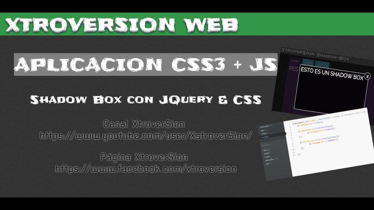 Como hacer shadow-box - Aplicación de CSS3 y JQUERY & Como hacer shadow-box - Aplicación de CSS3 y JQUERY - YouTube Aboutintivar.Com