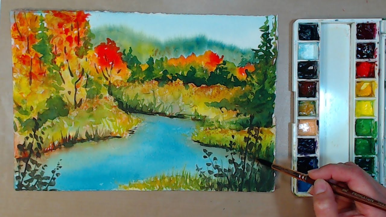 4 Color Fall Landscape In Watercolor // Beginner Friendly!