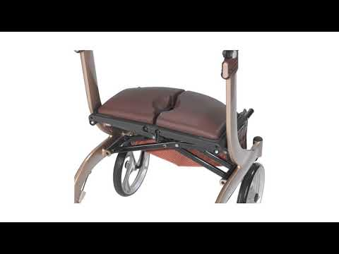 Drive Medical RTL10266CH-HS Nitro Deluxe Euro Style Rollator with rigged seat, Champagne