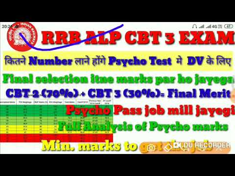 RRB ALP CBT 3, How much marks scored to clear the Psycho test and get the job