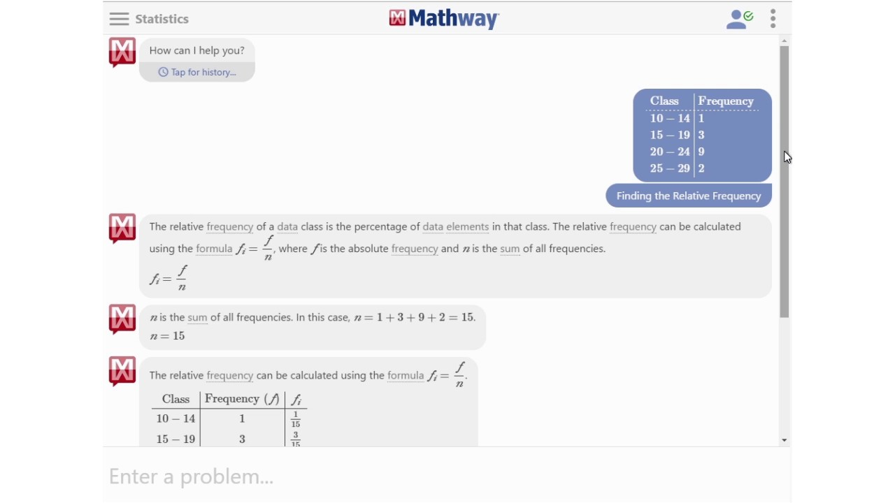 Find the Relative Frequency Mathway Basic Statistics on