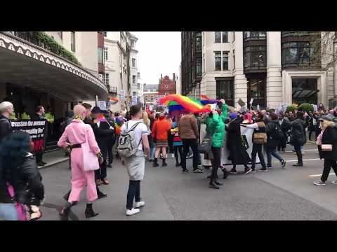 Crowds storm the barriers at The Dorchester Hotel London in anti Sultan of Brunei protest