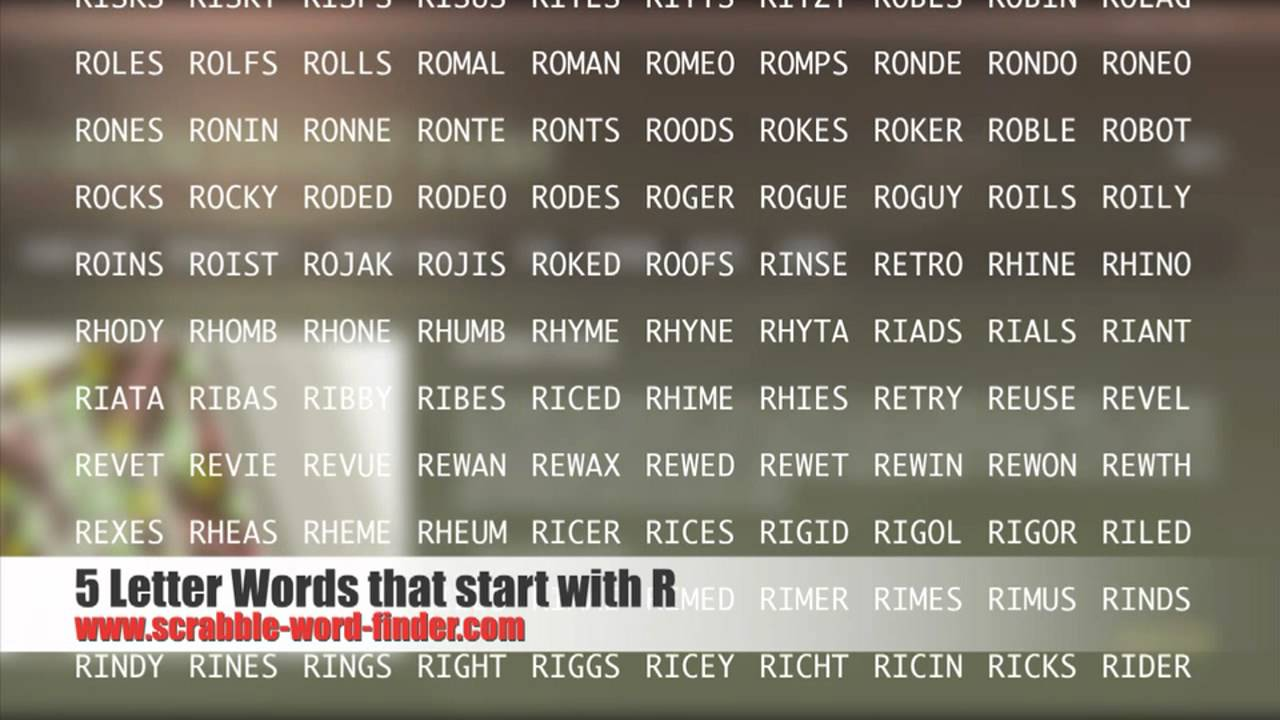 5 letter words that start with R