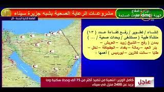 الأخبار - اللواء كامل الوزير - يوضح مشروعات الرعاية الصحية بشبة جزيرة سيناء