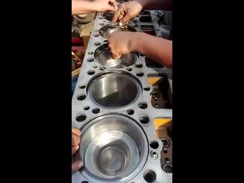 3406 cylinder head installation - YouTube