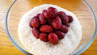 【小穎美食】大米不用煮著吃,加1碗紅棗,軟糯香甜,還很營養,幾斤大米不夠吃