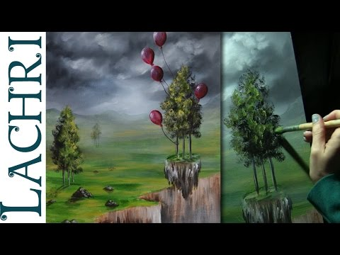 How to paint an easy surreal landscape in acrylics - speed painting w/ Lachri