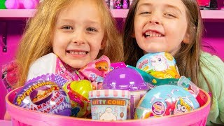 Toy Surprise Eggs & Blind Bags Easter Basket Filled with Toys for Girls Family Fun Kinder Playtime