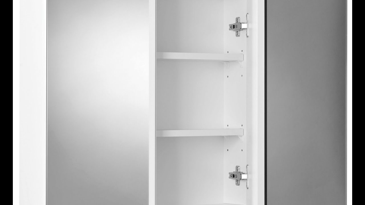 White Bathroom Wall Cabinet With Glass Doors - YouTube