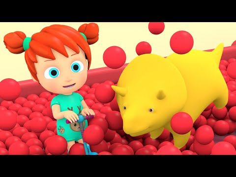 Учим цвета и цифры -  Огромная горка с шариками  - Динозаврик Дино и дети