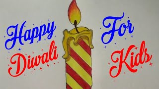 How to draw Kids Celebration Diwali Festival Drawing step by step | Diwali Greeting Card design idea
