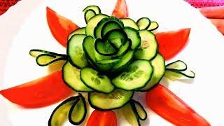 Великолепная роза из огурца - Украшения из моркови и огурца & Карвинг овощей - Украшения блюд