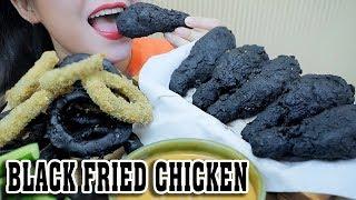 ASMR BLACK FRIED CHICKEN + BLACK FRIED ONION RINGS , CRUNCHY EATING SOUNDS | LINH-ASMR
