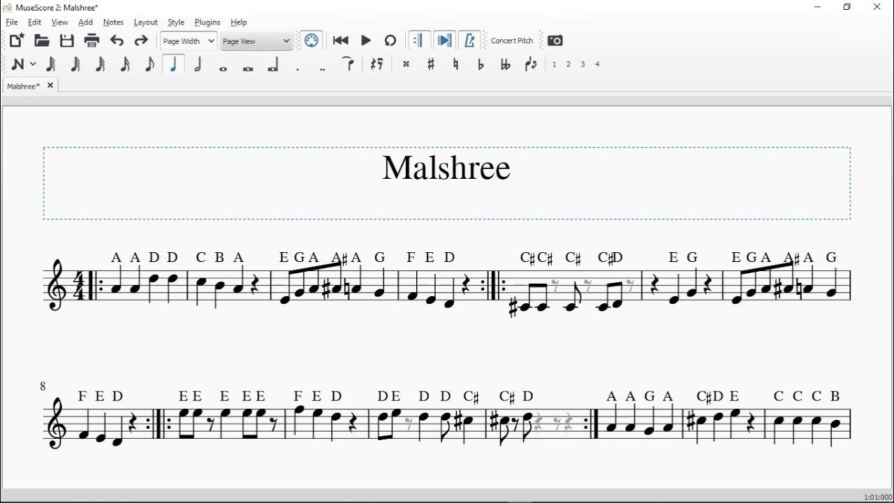 Malshreedashain Dhun Music Notation Youtube