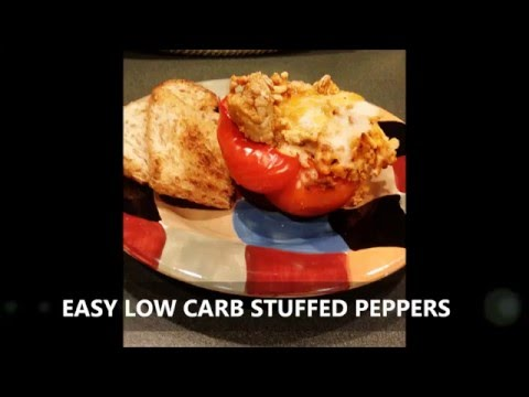 EASY DINNER RECIPE FOR WEIGHT LOSS, LOW CARB STUFFED PEPPERS. SIMPLE AND HEALTHY INGREDIENTS!