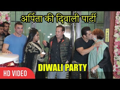 Salman Khan With Family At Arpita & Aayush Diwali Party | Sohail Khan, Salim Khan, Helen