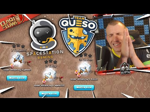 Most INTENSE War In History! Team Queso Vs Spacestation (Clash Of Clans)
