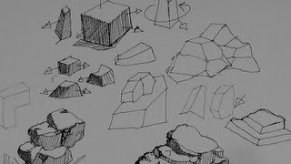 Pen & Ink Drawing Tutorials   How to draw rocks, stones and boulders