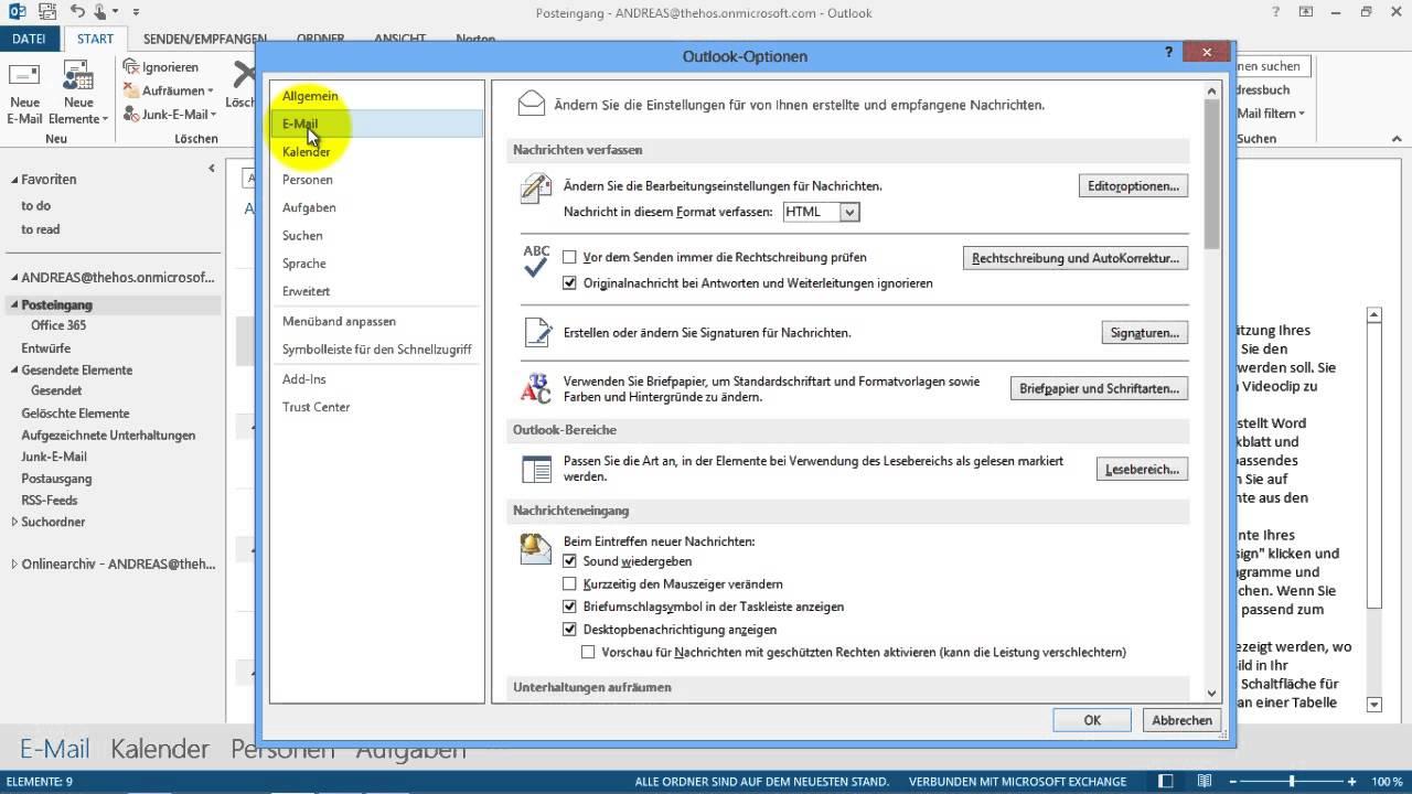 Outlook - Schriftart für E-Mails im Nur-Text-Format ändern - Courier New - YouTube