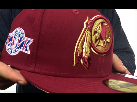 newest collection 9511f d5566 Redskins  SUPER BOWL XXVI GOLD-50  Burgundy Fitted Hat by New Era