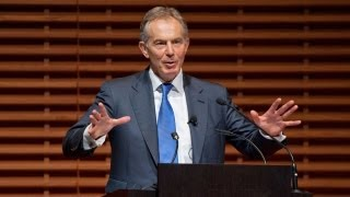 At Stanford, Tony Blair Talks About Efforts in Africa