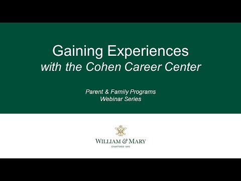 Gaining Experiences with the Cohen Career Center