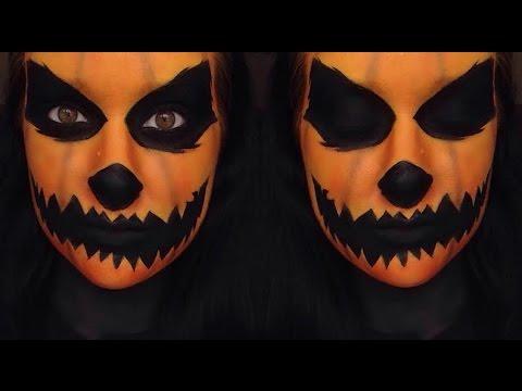 Halloween: Pumpkin Head Makeup Tutorial - YouTube