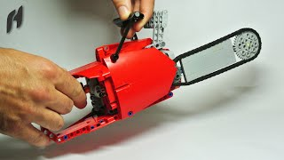 how to build the lego technic chainsaw with power functions motor