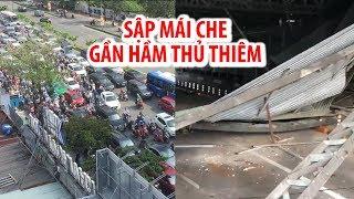 Cửa ngõ trung tâm TP.HCM hỗn loạn vì sập mái che gần hầm Thủ Thiêm