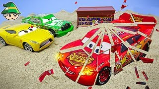 The Disney car is broken. A car transformed into colored sand.