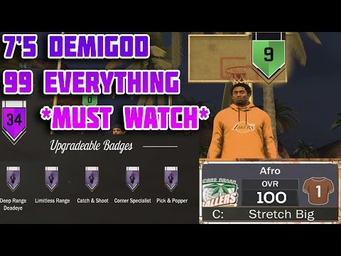 NBA 2K17 - 7ft5 KOBE DEMIGOD ON MYPARK *MUST WATCH* (100 OVERALL ALL HALL OF FAME BADGES)