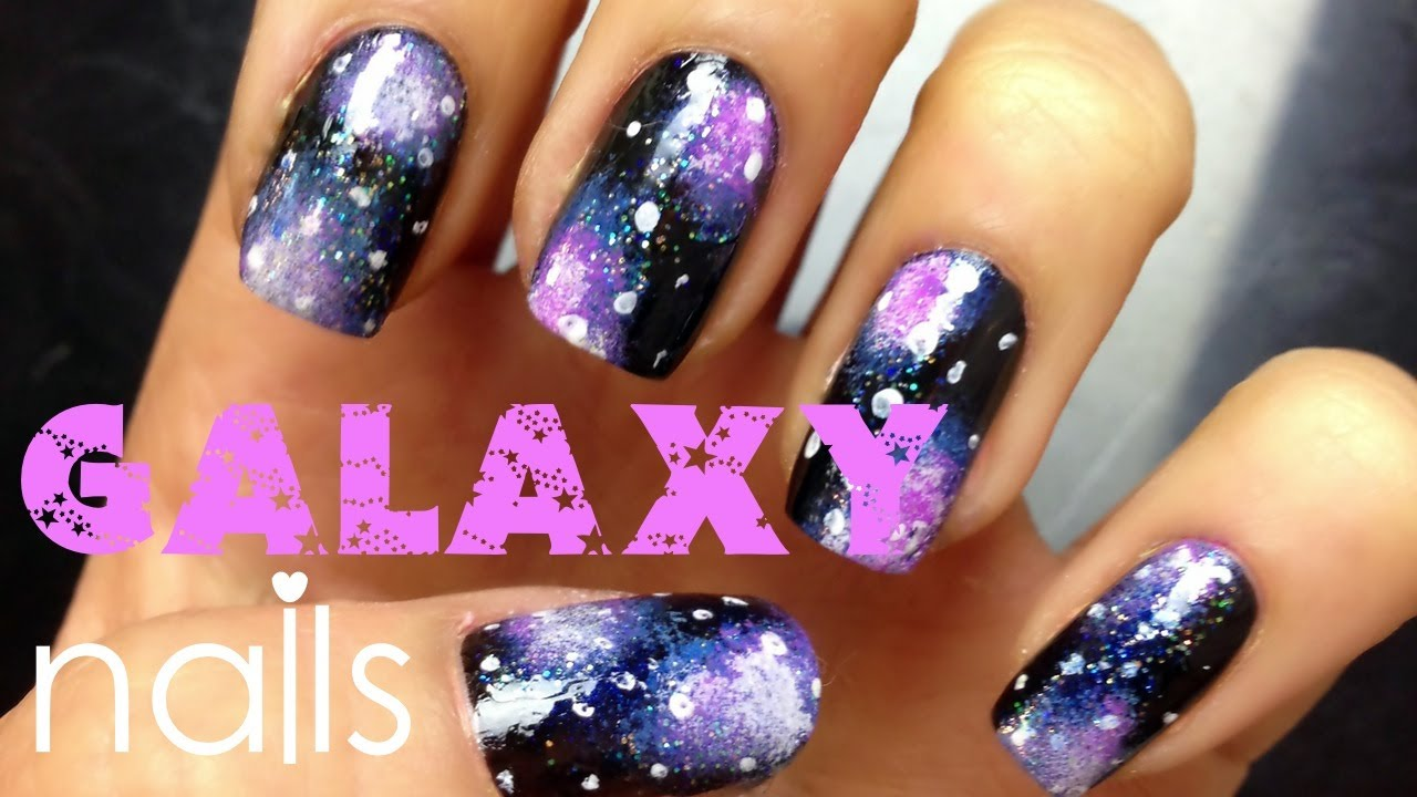 Easy Galaxy Nail Art Tutorial (for beginners) - YouTube