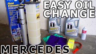 Mercedes Benz Oil & Filter Change DIY - EASIEST WAY! - C, CL, CLK, E, S, SLK, ML M112 w203 C320