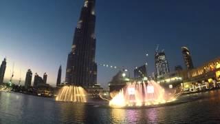 Dubai Fountain 2015 Baba Yetu Dubaj pokaz fontann Gopro Hero 4 Silver + G3 Ultra Feiyu