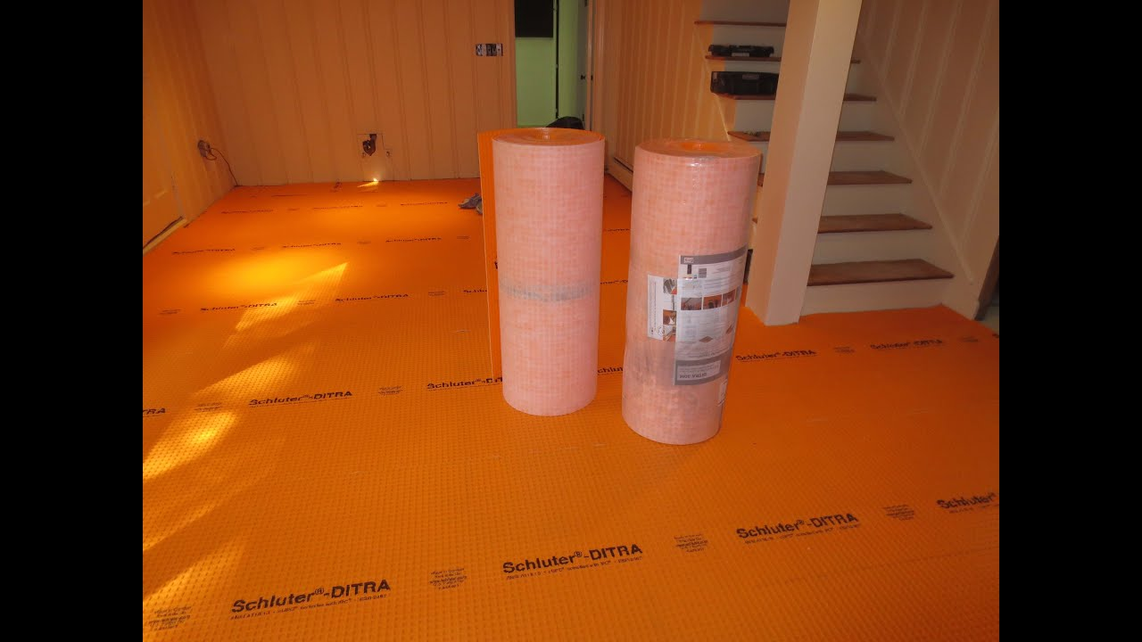 How to tile a large basement floor part 1 installing schluter how to tile a large basement floor part 1 installing schluter ditra youtube dailygadgetfo Images