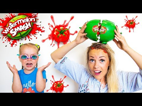 Watermelon Smash Challenge play with Gaby Alex and Mommy