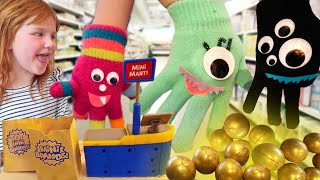 MONSTER HANDS FAMiLY!!  Adley's surprise Birthday Party! Tiny Town Neighborhood & new Shopping Store