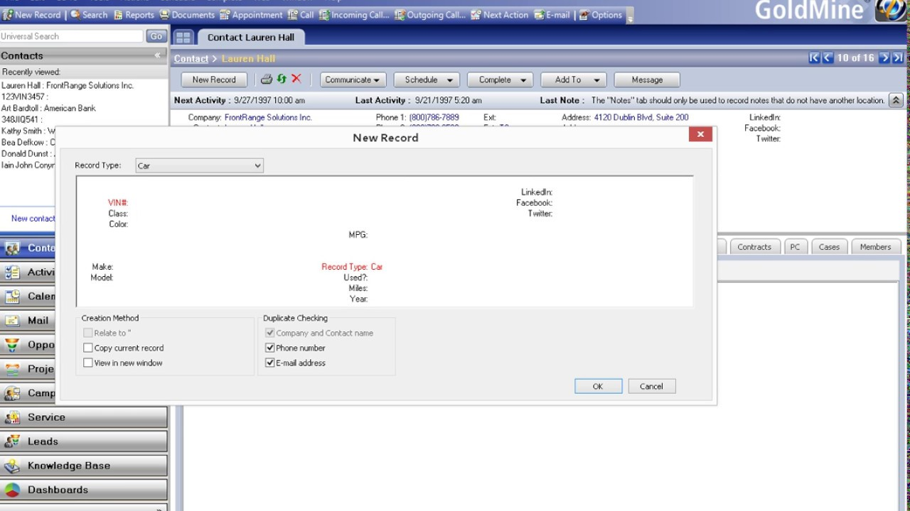 How to Create a New GoldMine CRM Record