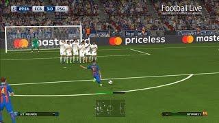 PES 2017 | Barcelona vs PSG | Full Match & Neymar Free Kick Goal | UEFA Champions League
