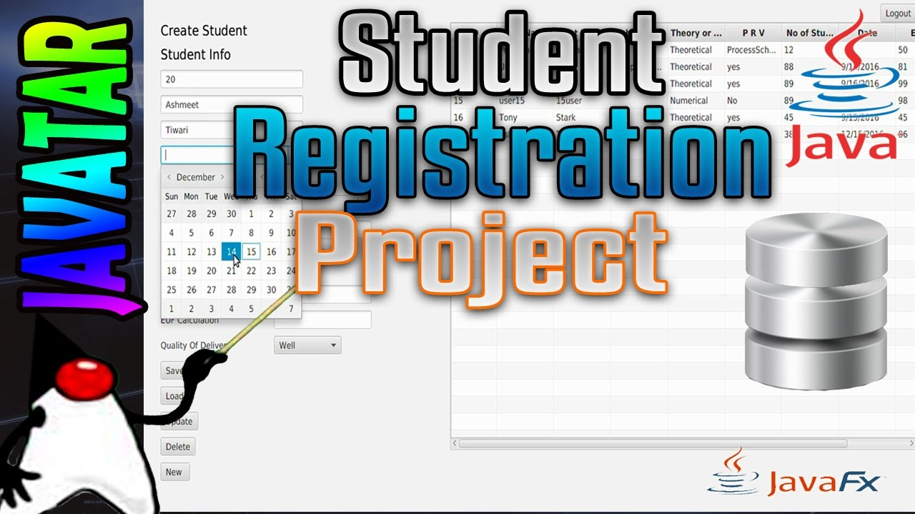 student registration system project in java