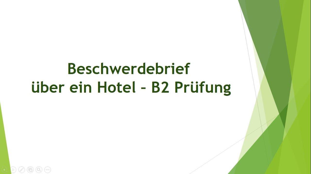 Beschwerdebrief über Ein Hotel Schriftliche Prüfung B2 Youtube