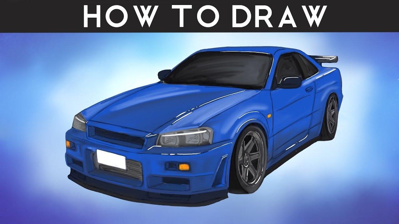 HOW TO DRAW - Nissan Skyline R34 GTR - Step by Step - YouTube