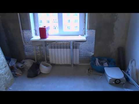 Откосы,фальшь стена,радиаторы под решеткой.